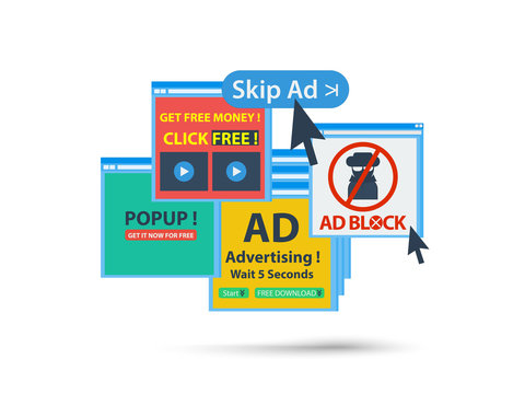 adblock web popup banner concept. isolated vector