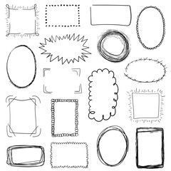 Collection of decorative black hand drawn frames on white background. Simple, grunge, sketch and doodle style. Use for scrapbooking, decoration, advertising, web, posters etc. Vector illustration