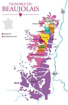 Carte du Vignoble du Beaujolais