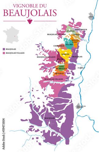 Vignoble beaujolais carte