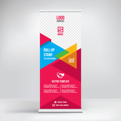 Roll up banner design, business concept, vector template