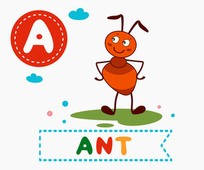 Hand drawn letter A and funny cute ant