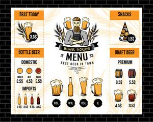 Beer bar menu template