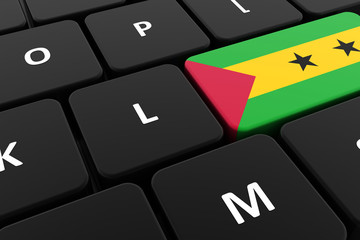 Computer keyboard, close-up button of the flag of Sao Tome and Principe. 3D render of a laptop keyboard