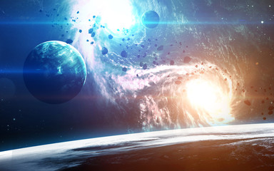Abstract scientific background - planets in space, nebula and stars. Elements of this image...