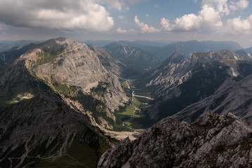View from Lampsenspitze via Gramai Alm towards the Rofan mountains in Tyrol