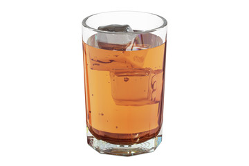 Glass with whiskey and ice, 3D rendering