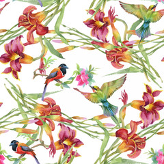 Watercolor hand drawn seamless pattern with tropical summer flowers and exotic birds