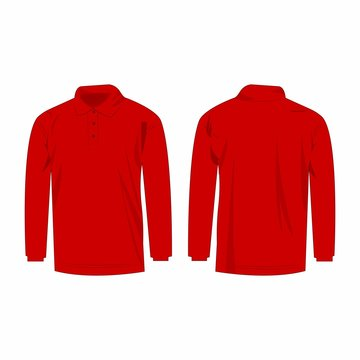 red long sleeve polo isolated vector front and back