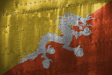 metal texutre or background with Bhutan flag