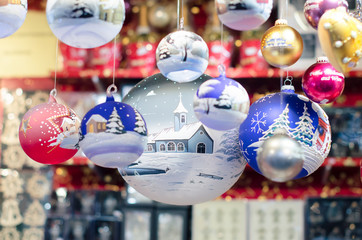 Christmas market decoration - delicate glass balls