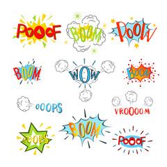 Comic speech bubbles set. Design cartoon, graphic communication, vector illustration