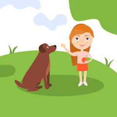 Happy girl with dog. Lady sitting playing and teaching her pet. Vector illustration.