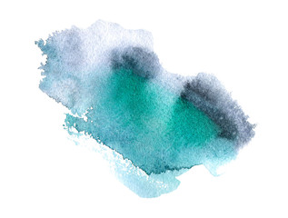 Turquoise and black watery illustration.Abstract watercolor hand drawn image.Green splash.White background.