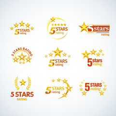 Golden Five stars round logo template set. Isolated Vector illustration