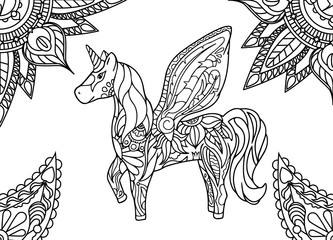 Unicorn with mandala and paisley ornament. Horizontal adult coloring page