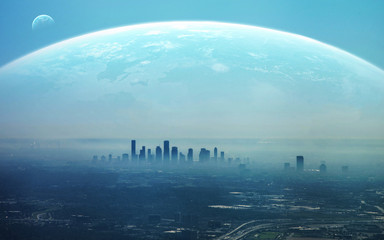 View of Futuristic City. This image elements furnished by NASA