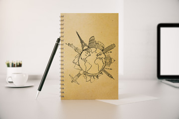 Spiral notepad with travel sketch