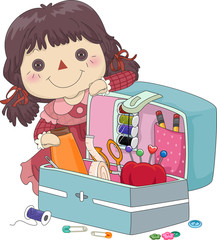 Kid Girl Doll Sewing Kit Organizer