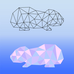 Low poly guinea pig vector illustration. Two guinea pig silhouettes