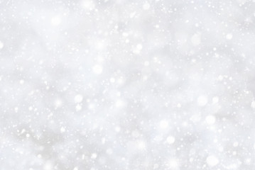 White Christmas Background With Bokeh And Snowflakes