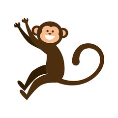 monkey smiling animal cartoon funny wildlife vector illustration