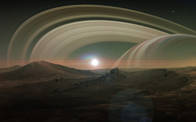 Wall Mural - View of Saturn from Titan. Elements of this image furnished by NASA