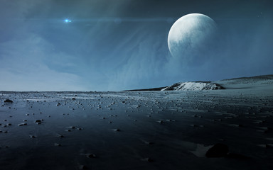 Wall Mural - View of Pluto from Charon. Elements of this image furnished by NASA
