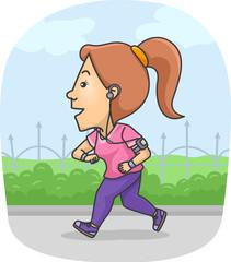 Girl Jogging Fitness Tracker