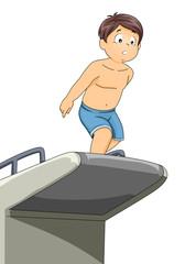 Kid Boy Hesitate Jump Dive Board