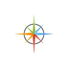 abstract compass pin navigator multi color colorful logo icon design concept vector template