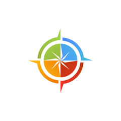 abstract compass pin navigator multi color colorful logo icon design concept vector template