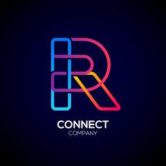 Letter R Logo Design.Linked shape square symbol,Digital