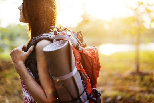 Girl Travel Backpacker Digital Device Concept