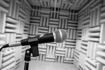 microphone in vocal booth, recording studio