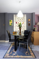 modern dark tone dining room, contemporary loft style in small space for home decoration concept