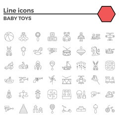 Baby toy thin line related icons set on white background. Simple mono linear pictogram pack Stroke vector logo concept for web graphics.