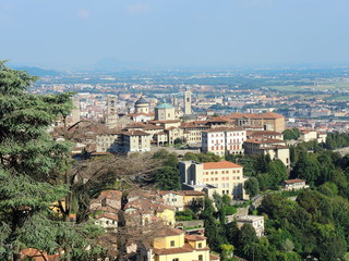 Bergamo - Old city, downtown. Lombardy,  Italy. Landscape from San Vigilio hill