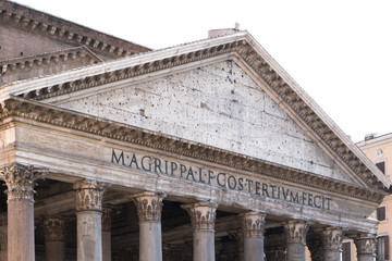 Rome, Italy - July 5, 2016: Pantheon facade. The Pantheon is a former Roman temple, now a church, in Rome on the site of an earlier temple commissioned by Marcus Agrippa during the reign of Augustus