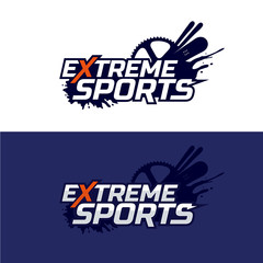Extreme sports logo. Snowboard, ski and bike, mud splashes.