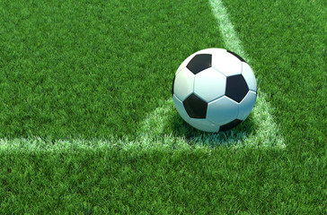 Soccer ball on green grass, Corner of soccer field .3D illustration