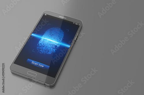 smartphone with finger scan 3d illustration imagens e fotos de stock royalty free no fotolia. Black Bedroom Furniture Sets. Home Design Ideas