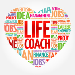 Life Coach heart word cloud collage, business concept background