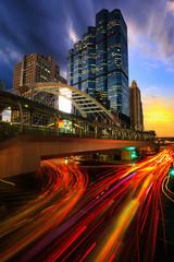 traffic city night at bangkok thailand
