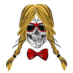 hand drawn anatomy skull with different tones and hair. Vector