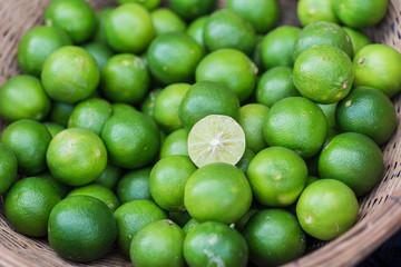 Lime, Asian lemon or mini lemon green fruit sour for food ingredient.
