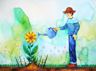 the boy is watering sunflower, watercolor painting design
