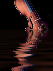 violin rising from water, isolated on black. concept : music was originated from nature