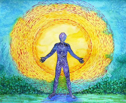 human and higher power, abstract watercolor painting, 7 chakra