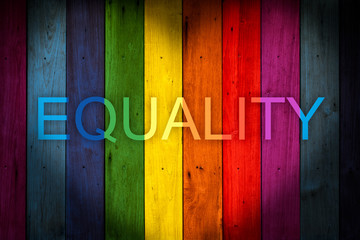 EQUALITY Wording LGBT concept color wood background, rainbow colorful wooden wall.
